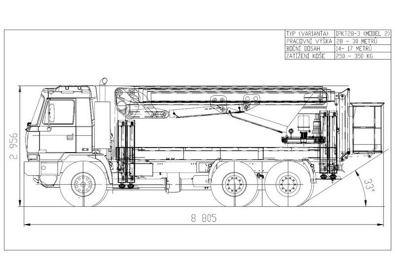 Technický nákres speciální plošiny IPKT 28-3